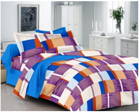 Lali Prints Designer Checks 1 Double Bedsheet With 2 Pillow Covers