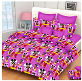 Lali Prints Mickey Mouse Kids Cartoon 100% Cotton 1 Double Bedsheet With 2 Pillow Covers