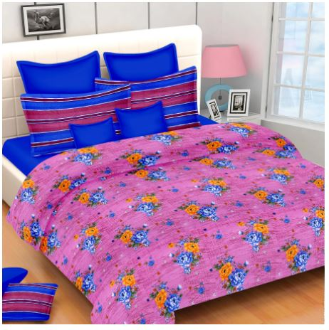Lali Prints Classic Superior Floral 100 % Cotton 1 Double Bedsheet With 2 Pillow Covers