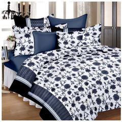 Lali Prints Black Superior Floral 100% Cotton 1 Double Bedsheet With 2 Pillow Covers - Black