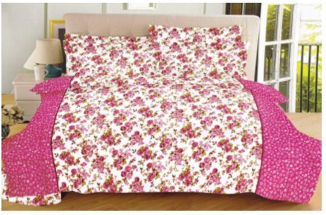 Lali Prints 100% Soft Cotton Pink Floral 1 Double Bedsheet With 2 Pillow Covers