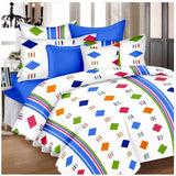 Lali Prints Multicolor Designer Print 100% Cotton 1 Single Bedsheet With 2 Pillow Covers