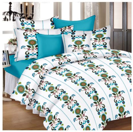 Lali Prints Trendy Premium Print 100% Cotton 1 Single Bedsheet With 2 Pillow Covers