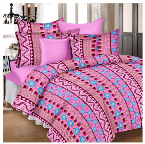 Lali Prints Multi Colorful Designer 100% Cotton 1 Single Bedsheet With 2 Pillow Covers