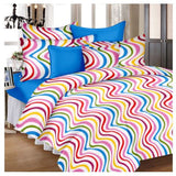 Lali Prints Multi Colour Stripes Print 100% Cotton 1 Single Bedsheet With 2 Pillow Covers