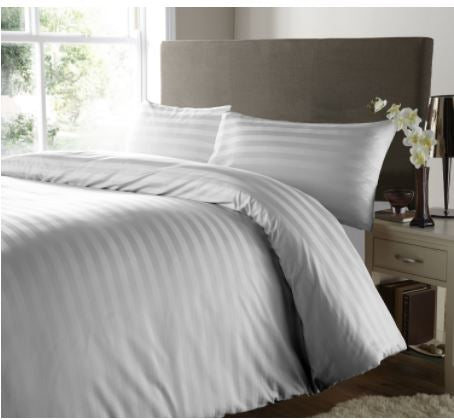 Luxury 200TC 100% Cotton Premium White Sateen Striped Bedsheet With 2 Pillow Covers
