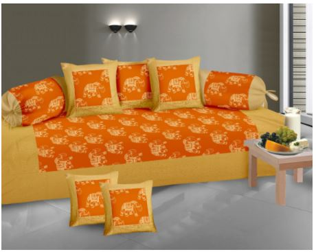 Lali Prints Gold Print Traditional Elephant 8 Pcs Diwan Set With Cushion & 2 Bolster Covers And 1 Bedsheet