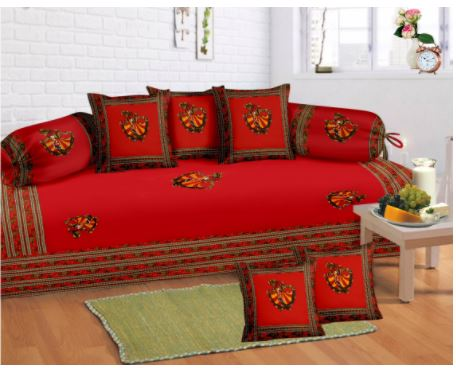 Lali Prints 8 Pcs Red Jaipuri Print Diwan Set With 5 Cushion And 2 Bolster Covers And 1 Bedsheet