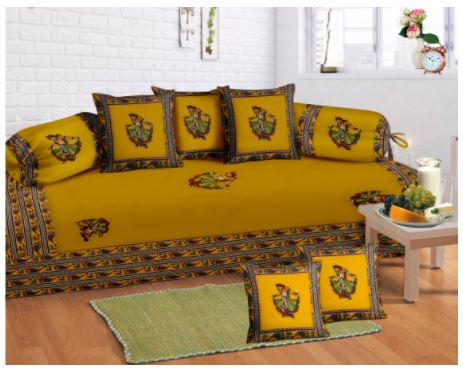 Lali Prints 8 Pcs Green Indian Art Print Diwan Set With 5 Cushion And 2 Bolster Covers And 1 Bedsheet