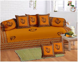 Lali Prints 8 Pcs Orange Ethnic Diwan Set With 5 Cushion And 2 Bolster Covers And 1 Bedsheet