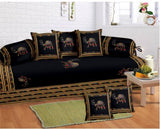 Lali Prints 8 Pcs Blue Camel Ethnic Print Diwan Set With 5 Cushion And 2 Bolster Covers And 1 Bedsheet