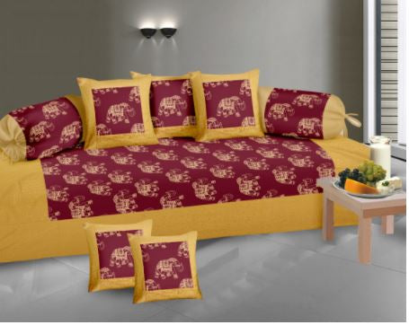 Lali Prints Gold Print Maroon Elephant 8 Pcs Diwan Set With 5 Cushion & 2 Bolster Covers And 1 Bedsheet