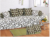 Lali Prints 8 Pcs Colorful Leaves Printed Diwan Set With 5 Cushion And 2 Bolster Covers And 1 Bedsheet