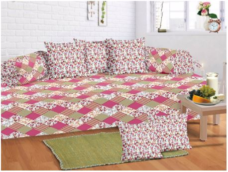 Lali Prints 8 Pcs Multi Colorful Printed Diwan Set With 5 Cushion And 2 Bolster Covers And 1 Bedsheet