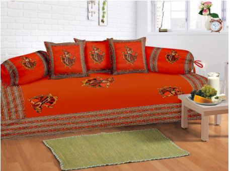 Lali Prints 8 Pcs Dark Orange Ghumer Print Diwan Set With 5 Cushion And 2 Bolster Covers And 1 Bedsheet