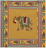 Lali Prints 8 Pcs Green Elephant Rajasthani Print Diwan Set With 5 Cushion And 2 Bolster Covers And 1 Bedsheet