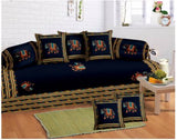Lali Prints 8 Pcs Blue Traditional Elephant Print Diwan Set With 5 Cushion And 2 Bolster Covers And 1 Bedsheet