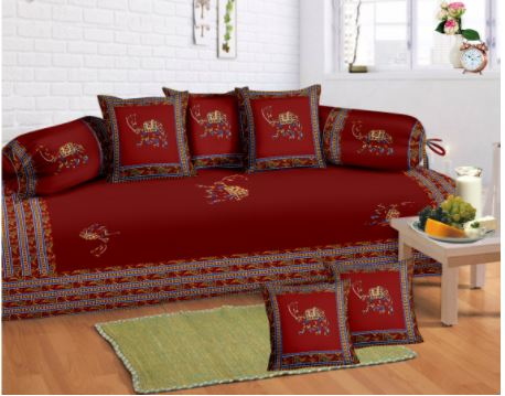 Lali Prints 8 Pcs Maroon Camel Print Diwan Set With 5 Cushion And 2 Bolster Covers And 1 Bedsheet