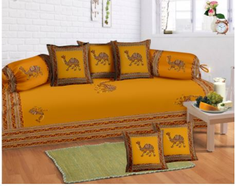 Lali Prints 8 Pcs Orange Camel Print Diwan Set With 5 Cushion & 2 Bolster Covers And 1 Bedsheet