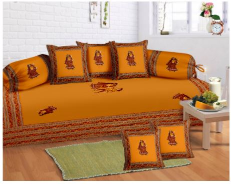 Lali Prints 8 Pcs Traditional Gumar Dance Print Diwan Set With 5cushion 2bolster Covers And 1 Bedsheet