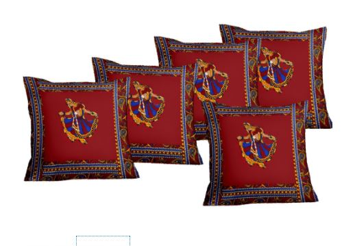 Lali Prints Patch Work Royal Ghumar Print Cushion Cover Set Of 5