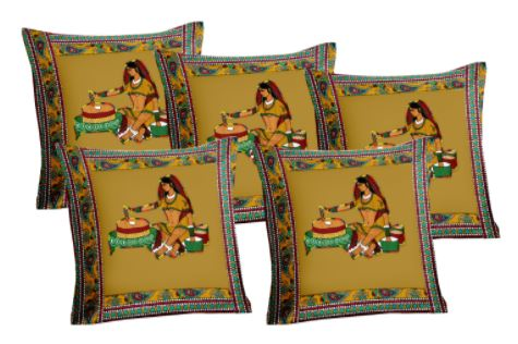 Lali Prints Patch Work Green Ethical Print Cushion Cover Set Of 5