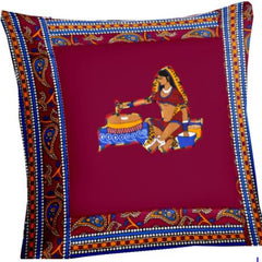 Lali Prints Patch Work Maroon Rajasthani Print Cushion Cover Set Of 5