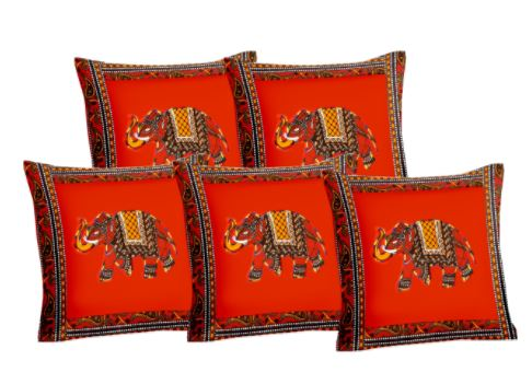 Lali Prints Patch Work Dark Orange Elephant Print Cushion Cover Set Of 5