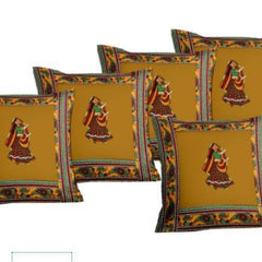 Lali Prints Patch Work Traditional Designer Print Cushion Cover Set Of 5