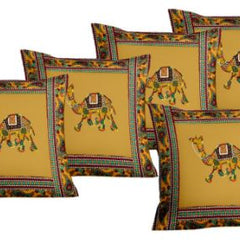 Lali Prints Patch Work Jaipuri Camel Print Cushion Cover Set Of 5