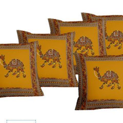 Lali Prints Patch Work Royal Camel Print Cushion Cover Set Of 5