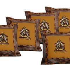 Lali Prints Patch Work Brown Designer Print Cushion Covers Set Of 5
