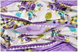 Lali Prints Purple Floral Super King Size 108 X 108 Inch 1 Double Bedsheet With 2 Pillow Covers