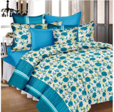 Lali Prints Blue Premium Floral Super King Size 108 X 108 Inch 1 Double Bedsheet With 2 Pillow Covers