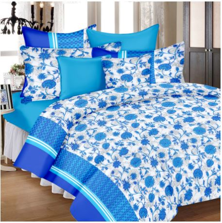 Lali Prints Blue Colorful Floral Super King Size 108 X 108 Inch 1 Double Bedsheet With 2 Pillow Covers