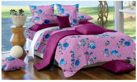 Lali Prints Blue Designer Floral 100% Cotton Super King Size 108 X 108 Inch 1 Double Bedsheet With 2 Pillow Covers