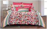 Lali Prints Colorful Red Floral 100% Cotton Super King Size 108 X 108 Inch 1 Double Bedsheet With 2 Pillow Covers
