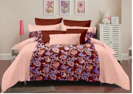 Lali Prints Multi Colorful Floral 100% Cotton Super King Size 108 X 108 Inch 1 Double Bedsheet With 2 Pillow Covers