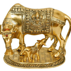 Brass Gift Center Cow with calf in gold finish Showpiece (Aluminium, Gold)
