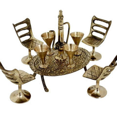 BRASS WINE SET FULL