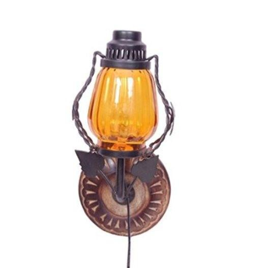 Desi Karigar  Wooden & Iron Fancy Wall Hanging Electric Chimney Lamp