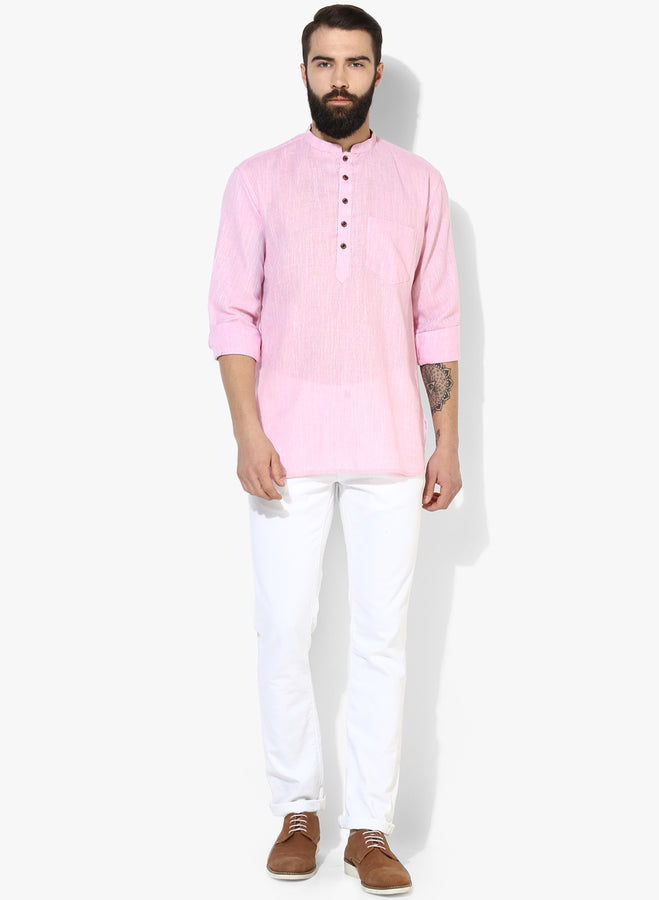 Men's Pink Casual Kurta