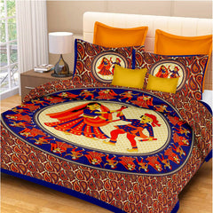 Cotton double bedsheet with 2 pillow covers from RajasthaniKart