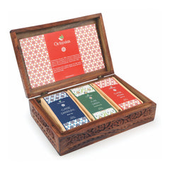 Octavius Premium Collection of 3 Black Teas (Assam, Darjeeling & Green) in Carved Large Wooden Gift Box