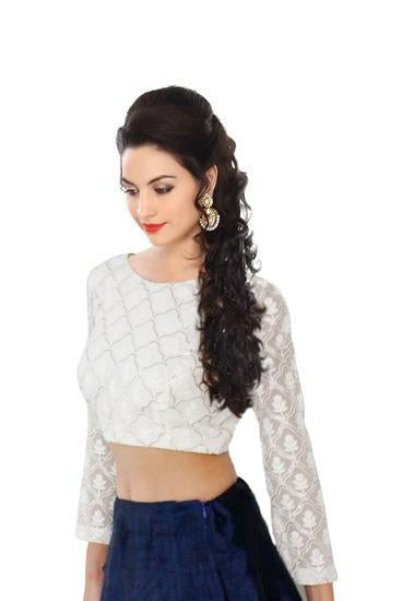 Embroidered White Georgette Designer Blouse Piece