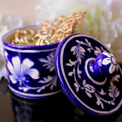 Blue Pottery Blue Floral Round Box