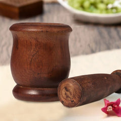 Traditional Wooden Mortar and Pestle
