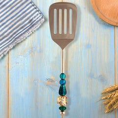 Blue & White Beaded Stainless Steel Spatula