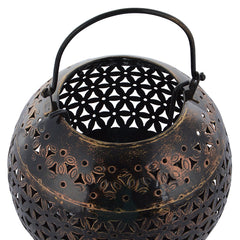 Indian Iron Circular Small Golden Tealight Candle Holder Handmade Gift Item For Home Decor Pink City Showpiece