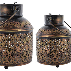 Indian Iron Golden Bucket Tealight Candle Holder Set Handmade Gift Item For Home Decor Pink City Showpiece